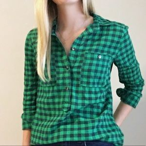 Madewell Navy and Green Gingham Shirt Sz S